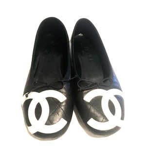 Chanel Cambon Black Quilted Leather Ballet Flats